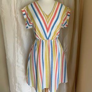 Monteau Striped V-Neck Dress-Excellent Cond.